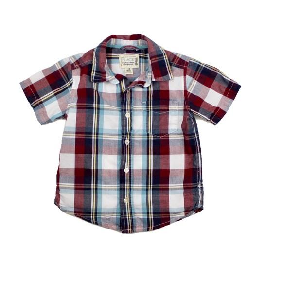 Children's Place Other - Button Down Burgandy Plaid Shirt, Size 24 M